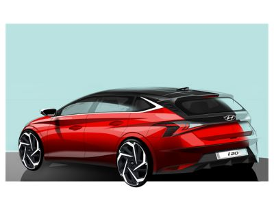 Concept art of a red all-new Hyundai i20 in front of a green background, left-side rear view